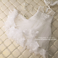 Retail New Princess Feather Eyelash Lace Baby Girls Dresses Tutu Kids dresses For Girls Party Wedding Summer Dress Girls Clothes