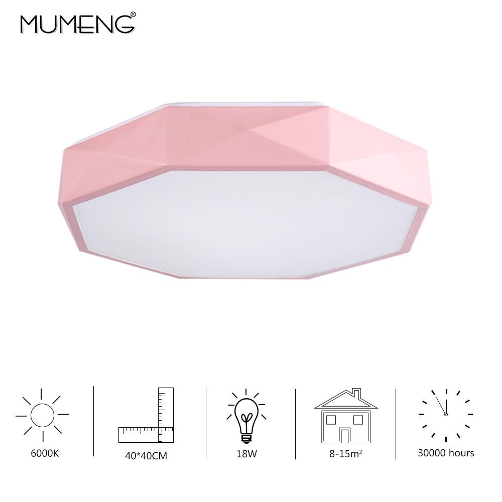 LED Pink Ceiling Lights for Bedroom Macaron Ultra thin 18W white lamp modern house Octagonal shape lighting Indoor Lighting
