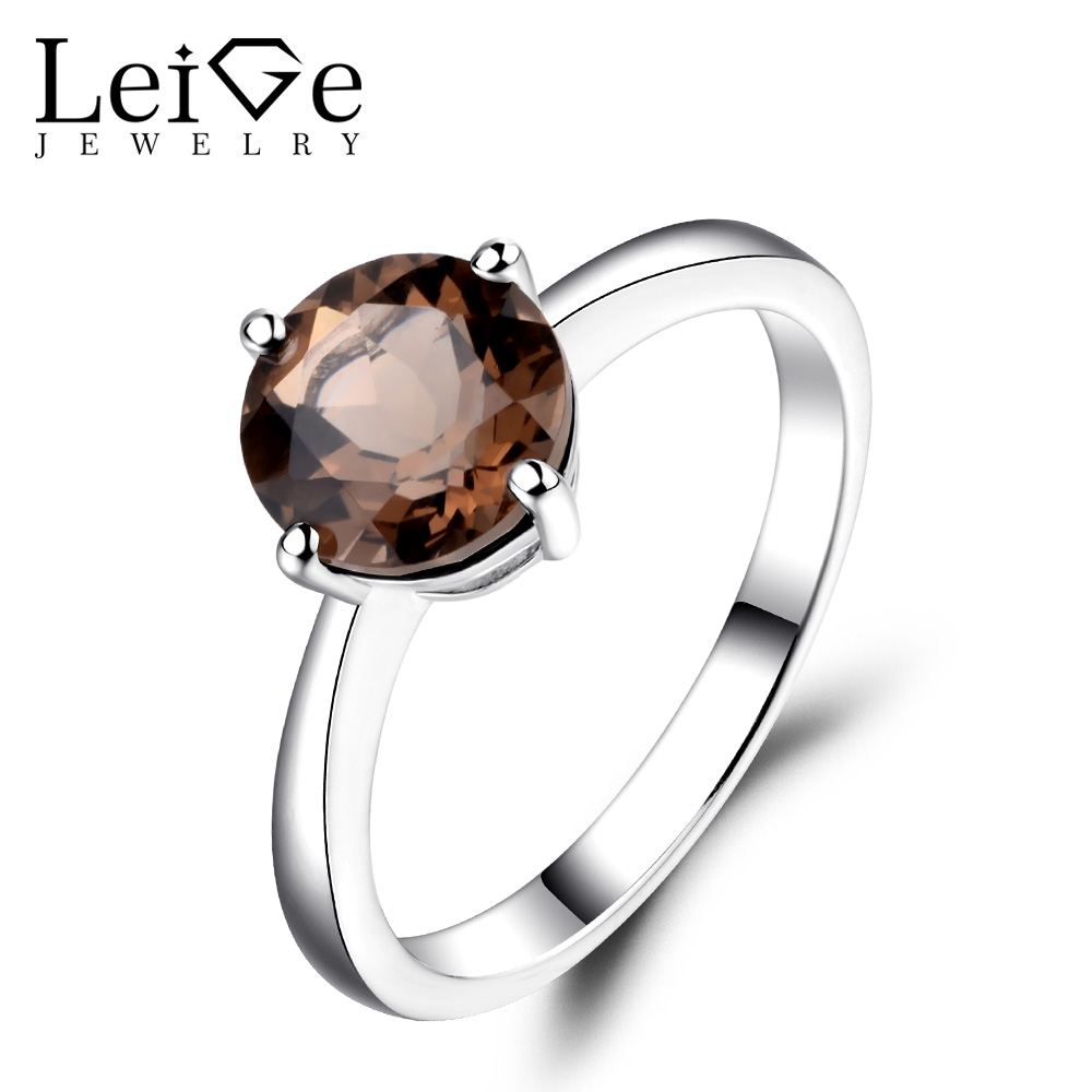 Leige Jewelry Round Cut Smoky Quartz Solitaire Ring Wedding Engagement Rings for Women Sterling Silver 925 Fine Jewelry