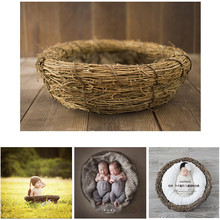 Newborn Photography Props Basket Nest Baby Forest Flower Bird Creative Fotografia for Studio Shoot