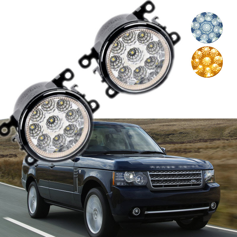 Car Styling For Land Rover Range Rover LM_ '10-'12 9-Pieces Leds Chips LED Fog Light Lamp H11 H8 12V 55W Halogen DRL Fog Lights for land rover range rover sport freelander 2 discovery 4 2006 2014 car styling led fog lights lamp crystal blue blue 12v
