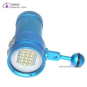 Image 4 - المهنية مصباح غوص 15 XML2 + 6 أحمر + 6 UV LED التصوير فيديو الغوص مصباح يدوي تحت الماء 100 متر الغوص الفيديو الضوئي