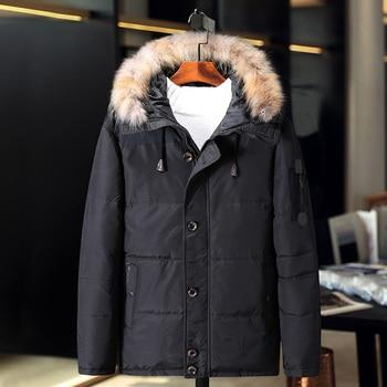 Waterproof Design Down Jacket Man Winter Thick Warm Fashion Patchwork Men's Coat Hooded Men White duck down Coat