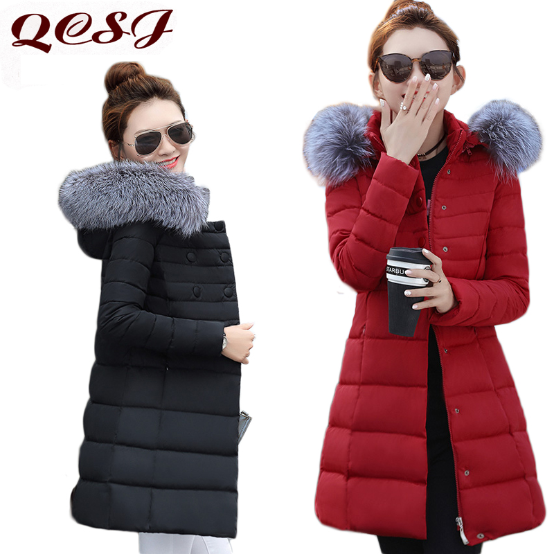 New Winter Coat Women 2017 Thick Double Breasted Warm Winter Jackets Slim Female Fur Collar Hooded Long Parka Outerwear Coat