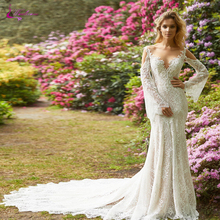 Waulizane V-Neck With Skin Tulle Mermaid Wedding Dresses Full Sleeve Court Train Decilcated Lace Empire