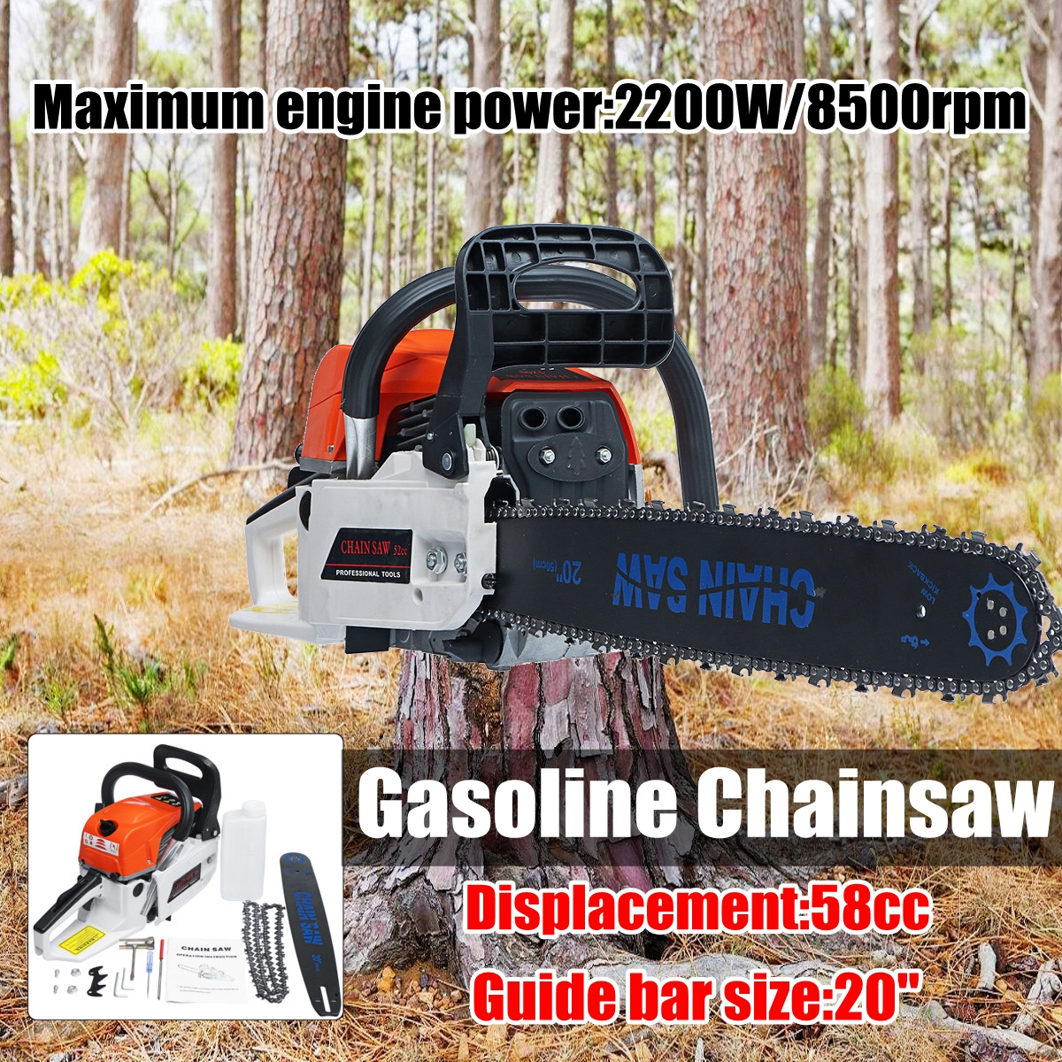 Professional 2200W 20'' Gasoline Chainsaw Machine Cutting Wood 58CC 8500rmp GAS China Saw wood cutter chain saw heavy duty gasoline chainsaw 2 stroke 58cc gas chain saw 3000rpm max 10000 rpm eu plug for garden tool