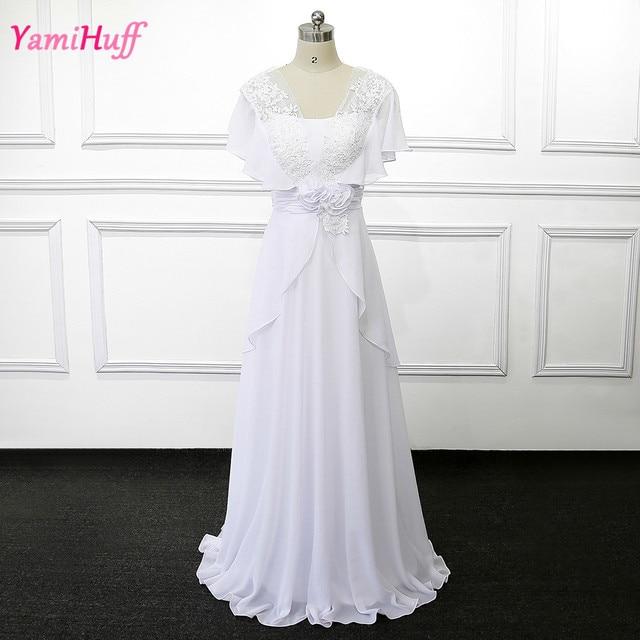 Cheap White Boho Bride Wedding Gowns Plus Size Short Sleeve Civil Lace Bridal Dresses Chiffon Robe