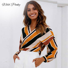 WildPinky Contrast Stripe Bow Tie Spliced Blouse Women Spring Summer V Neck Long Sleeve Top Multicolor Asymmetrical Blusas Mujer