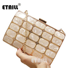 ETAILL 2018 Acrylic Women Evening Bags for Women Gold Metal Plaid Bridal Party Box Clutch Bag Purse Designer Chain Shoulder Bag luxury handbag evening bag diamond flower hollow clutch designer bag box relief acrylic banquet party purse women shoulder bags