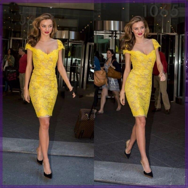 Sexe   Cocktail     Dresses   elegant yellow   dresses   new arrival sexy neck cap sleeve lace women party   dresses   vestidos de coctel