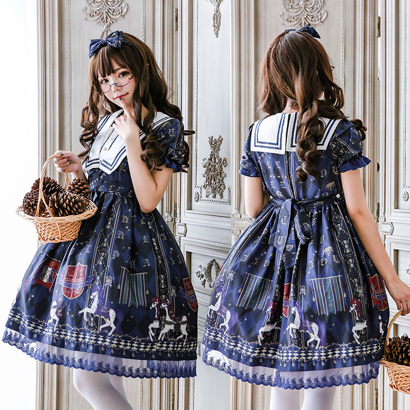 Japanese Style Girl Lolita Dress Blue sailor collar Kawaii Girls Carousel Printed Princess Maid Costume dress any size
