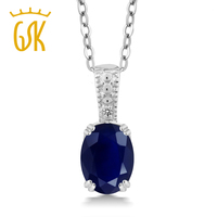 1 80 Ct Oval Blue Sapphire White Diamond 925 Sterling Silver Pendant