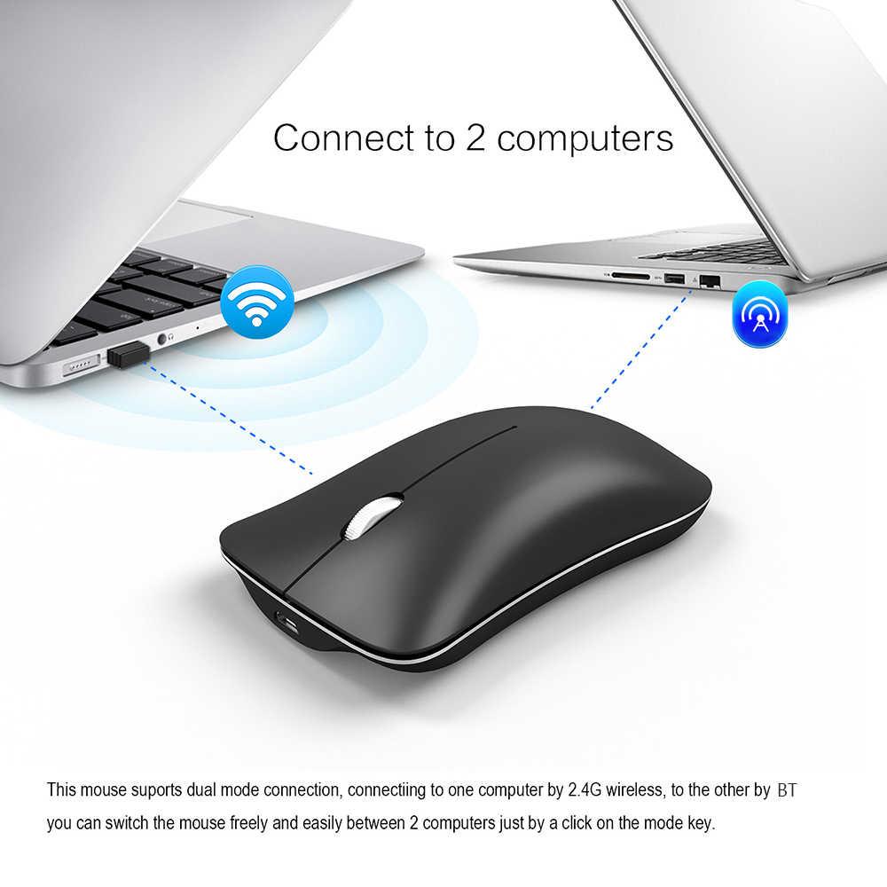 HXSJ T23 Bluetooth ワイヤレスマウス人間工学垂直マウス 4.0 BT 2.4 2.4ghz Utral 薄型デュアルモードラップトップ 1600 Dpi ゲーミングマウス pc の
