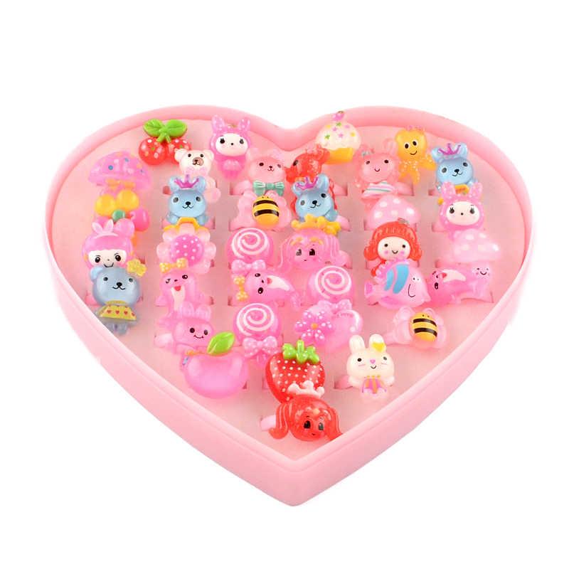 100 pz/scatola Colore Misto Carino Anelli di Giorno dei bambini di Plastica Dei Monili di Bambini per le Ragazze con Misto di Stile Animale di Frutta come Regali F95