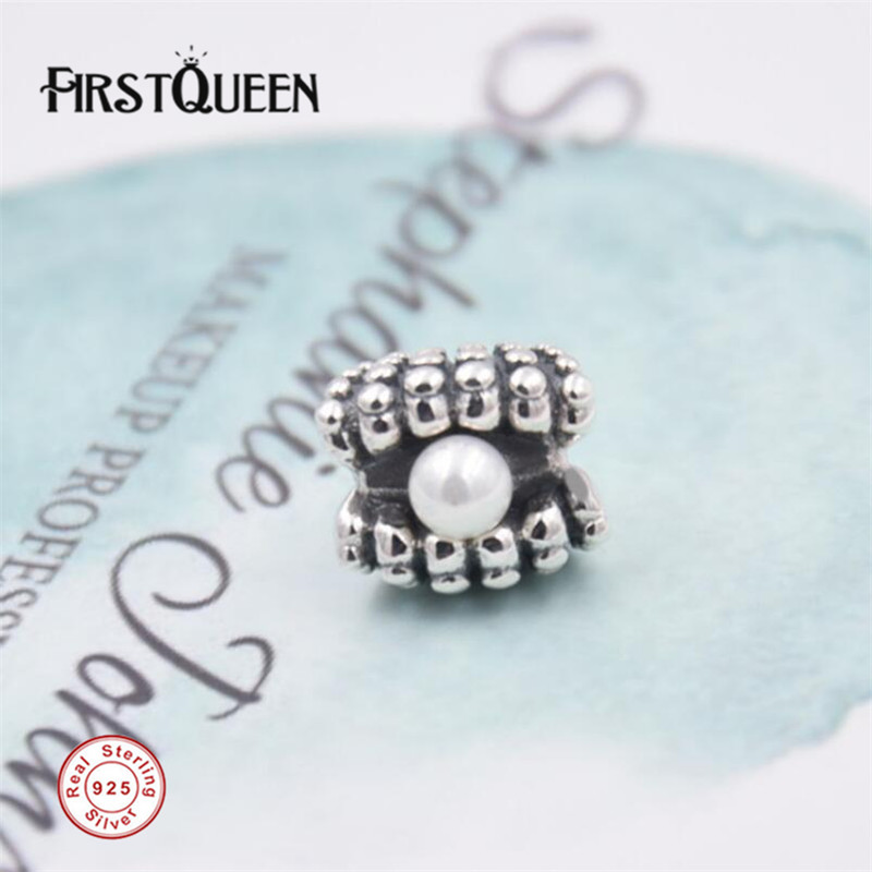 FirstQueen Shell Pearl Charm Bead Fits pulseira prata 925 original fabrication bijoux supplies for jewelry wholesale