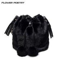 2016 Winter Faux Fur Women Messenger Bags Small Leather Handbags Luxury Designer Women Bag Rabbit Ladies