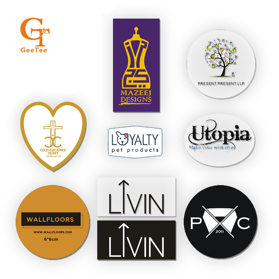 Custom logo brand print wedding adesivos stickers labelsplastic pvc vinyl paper transparent clear adhesive car die cut sticker in garment labels from home