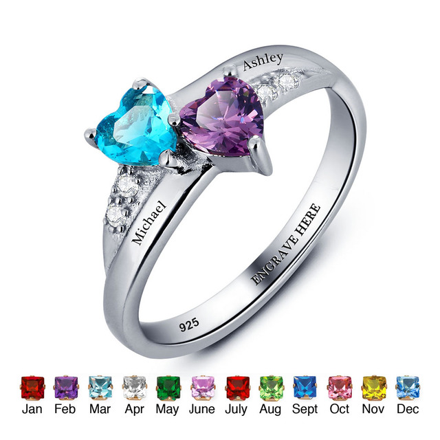 c84c57d08c Personalized Name Ring Lover 925 Sterling Silver Promise Ring Heart Shape  Birthstone Engrave Jewelry Mothers Day