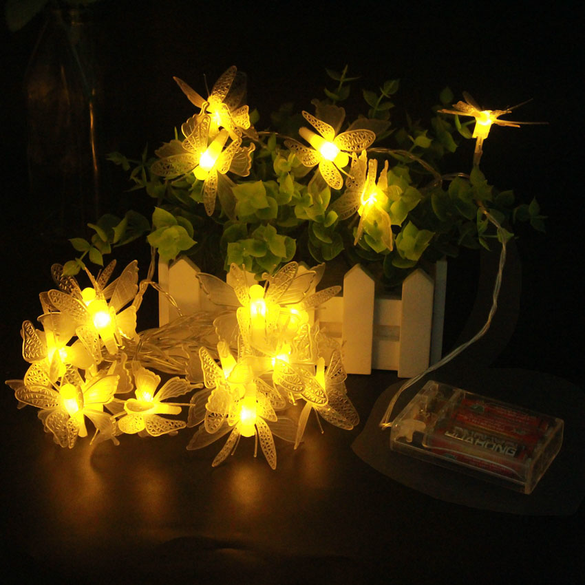 2m 3m 4m 5m 10m butterfly pendants led garland by AA batteries Fairy Christmas outdoor light string New year party wedding deco in LED String from Lights Lighting