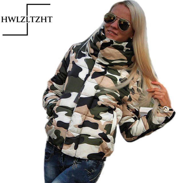 Moda inverno mulheres jaqueta de Camuflagem de Algodão fivela Escuro Engrossar para baixo casaco de gola alta casacos parkas para as mulheres inverno quente Fino