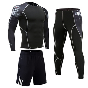 Image 2 - Compression Clothing Mens Sportwear Suit Jogging Thermal Underwear Suit MMA rashgard male Long sleeved tights leggings shorts