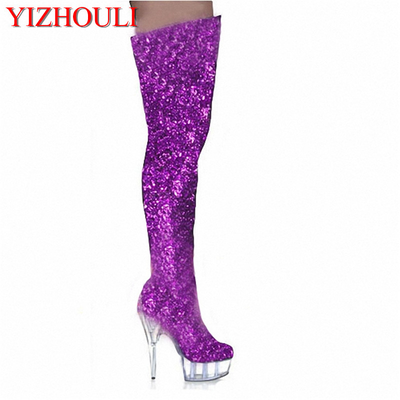 15cm tall sexy boots high heels punk motorcycle boots gold glitter thigh high boots closed toe 6 inch ladies sexy Crystal shoes 2016 new arrival 15cm ladies motorcycle autumn and winter boots round toe 6 inch high heel boots sexy flock buckle boots