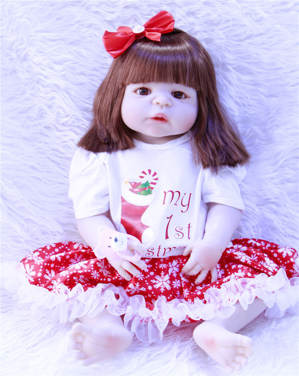 rooted hair 55cm Full Silicone Body Reborn Baby Doll Toy Realistic Newborn Princess Girls Babies Doll Kid Brinquedos Bathe Toyrooted hair 55cm Full Silicone Body Reborn Baby Doll Toy Realistic Newborn Princess Girls Babies Doll Kid Brinquedos Bathe Toy