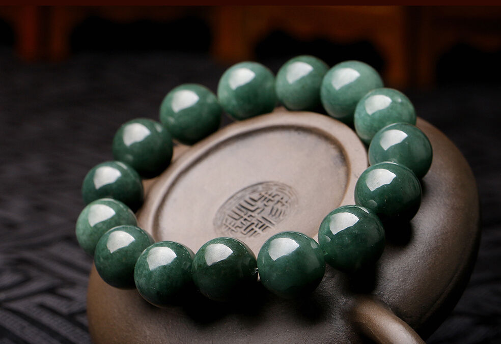 цена Koraba Fine Jewelry 15mm Perfect Chinese 100% A Grade Natural Jade/ Jadeite Bean Beads Bracelet Free Shipping онлайн в 2017 году