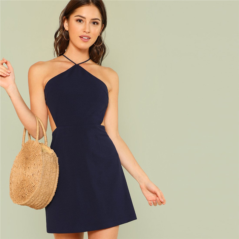 9a7db130f9 ... SHEIN Women Navy Sleeveless Backless Sexy Club Mini Dress 2018 Summer  Party Strappy Back Zipper Solid Shift Halter Short Dresses ...