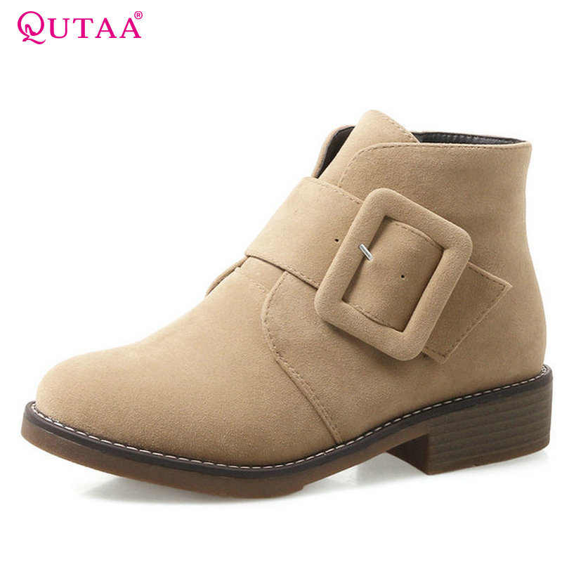 QUTAA 2018 Women Ankle Boots Square Heel Khaki Color Zipper Deisgn All Match High Quality Round Toe Women Boots Size  34-43 nemaone 2018 women ankle boots pu leather square high heel round toe zipper sweet boots all match ladies boots size 34 43
