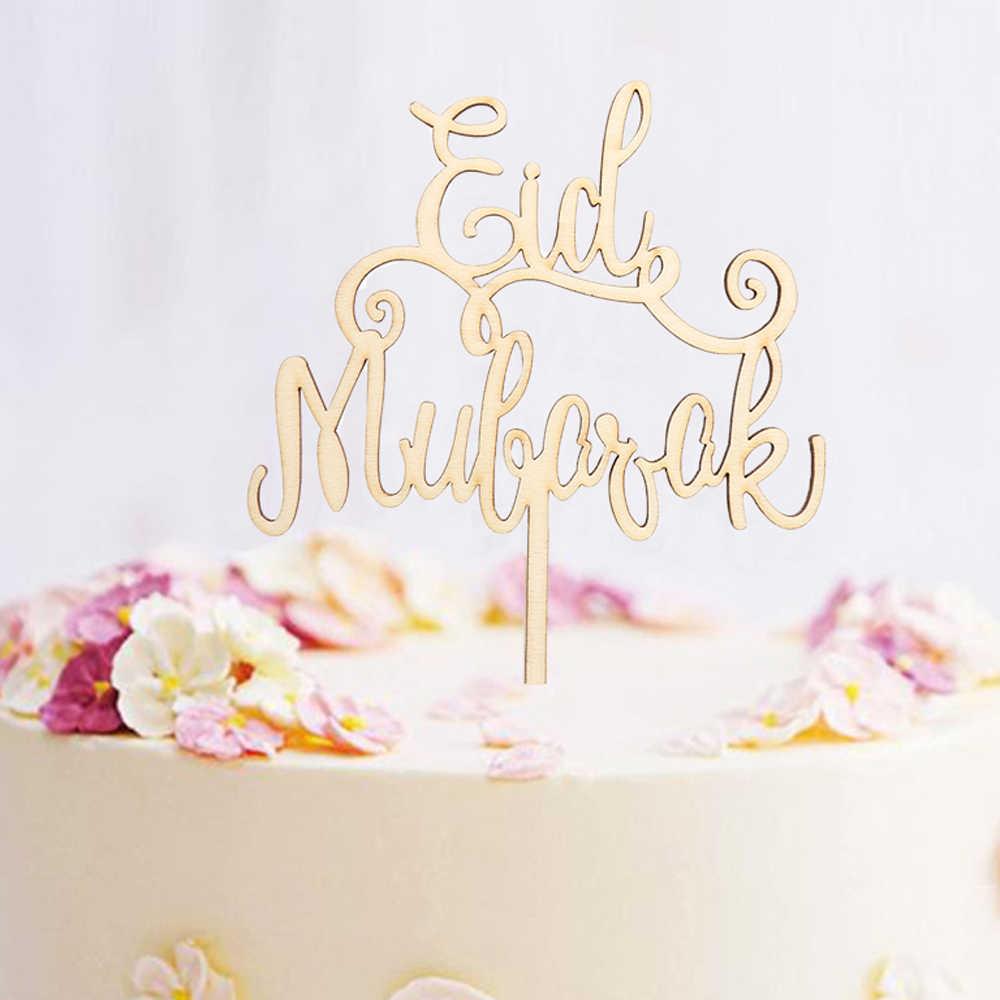 1/10 pcs מעודן מלאכות עץ עיד מובארק הרמדאן חתונה עוגת טופר 'מוסלמי קישוט המפלגה קרפט קישוט