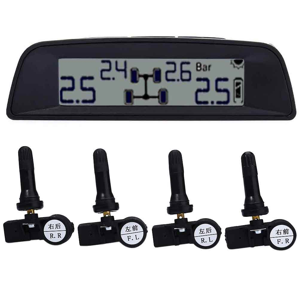 LCD Digital Tire Pressure Monitoring System Each Sensor with Independent ID Code Auto Tyre Pressure Solar Power Internal Sensor