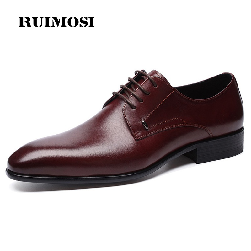 RUIMOSI Italian Luxury Man Formal Dress Shoes Genuine Leather Derby Oxfords Pointed Toe Men's Wedding Bridal Party Flats NH72