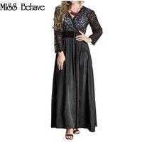 Black Elegant Lace Dress Plus Size Long 2018 Women Patchwork Long Sleeve V Neck Evening Party