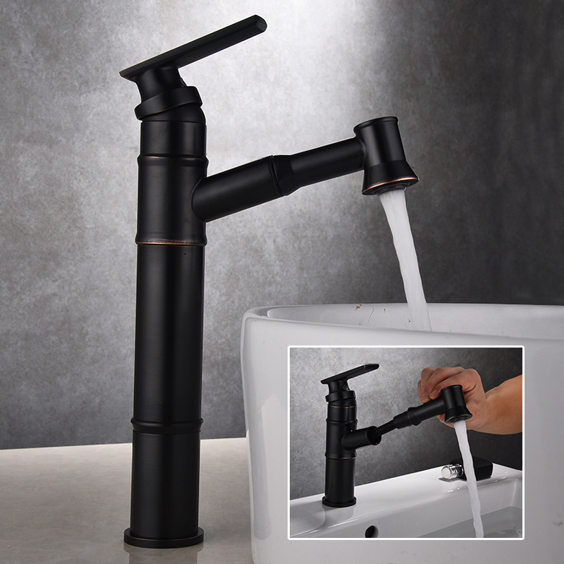 black pull out basin faucet table top basin faucets hot and cold mixer all copper European style telescopic shampoo face faucet томас майн рид огненная земля