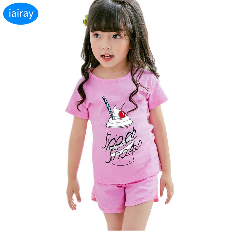 iairay summer 2018 kids clothes set for girls tops children clothing girl costume boys tshirt cute pink summer shorts for girls