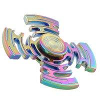 New Style Rainbow Multicolor Maze Metal Fidget Spinner Hand Spinner Finger Spinner Stress Wheel Four Spinner
