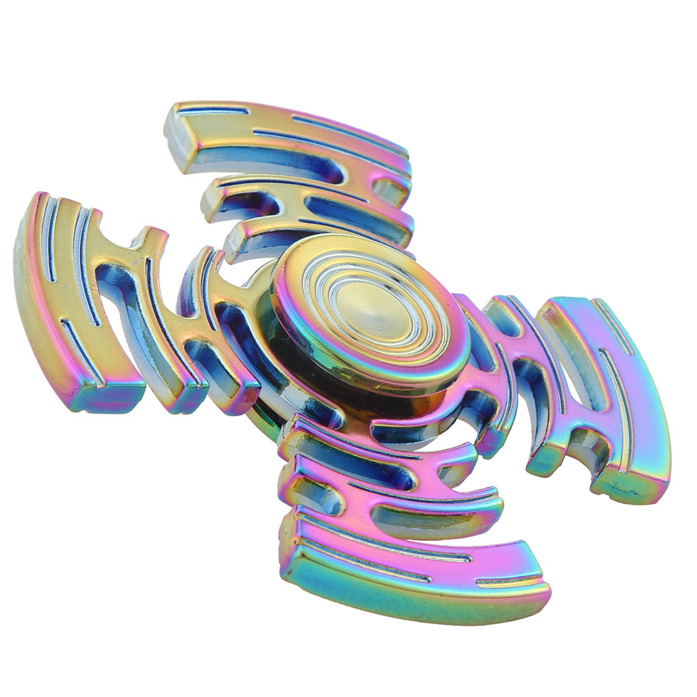 New Style Rainbow Multicolor Maze Metal Fidget Spinner Hand Spinner Finger Spinner Stress Wheel Four Spinner
