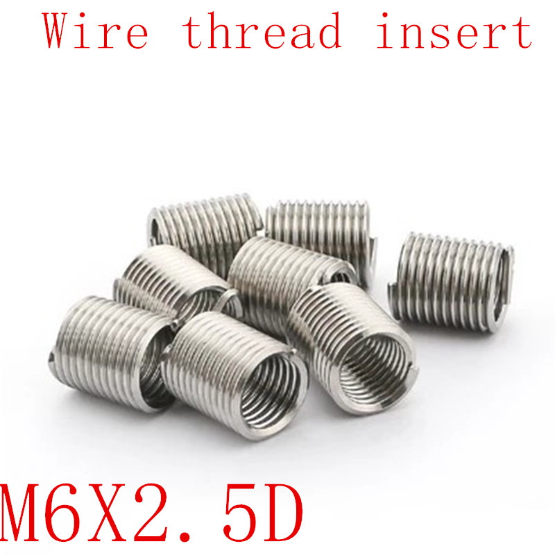 50pcs M6*1.0*2.5D Wire Thread Insert Stainless Steel 304 Wire Screw Sleeve, M6 Screw Bushing Helicoil Wire Thread Repair Inserts