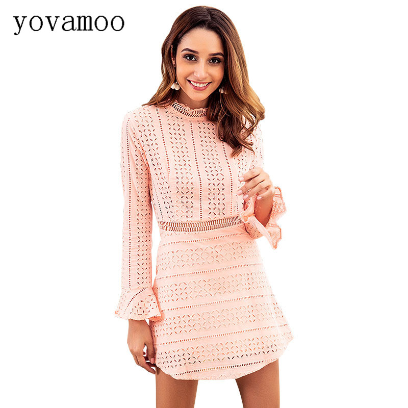 Yovamoo Pink Dress Elegant Vintage 2018 Autumn New Lace Patchwork Sexy Hollow Out Long Sleeve Dresses Womens Clothing