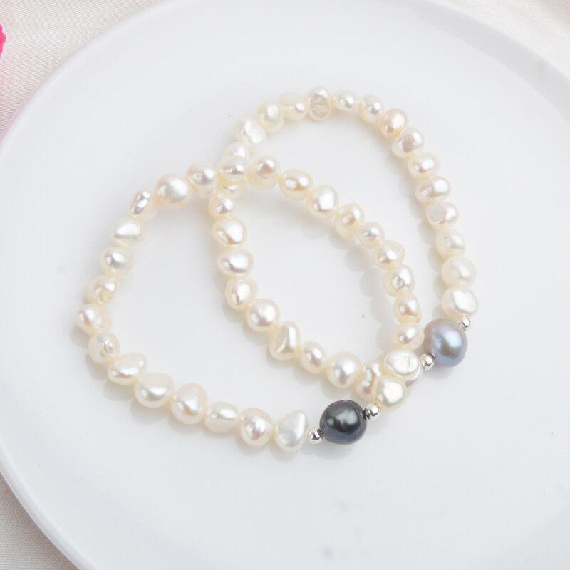 ASHIQI 7-10mm Bracelets et Bracelets de perles baroques d'eau douce naturelles pour femmes 925 perles en argent bijoux cadeau