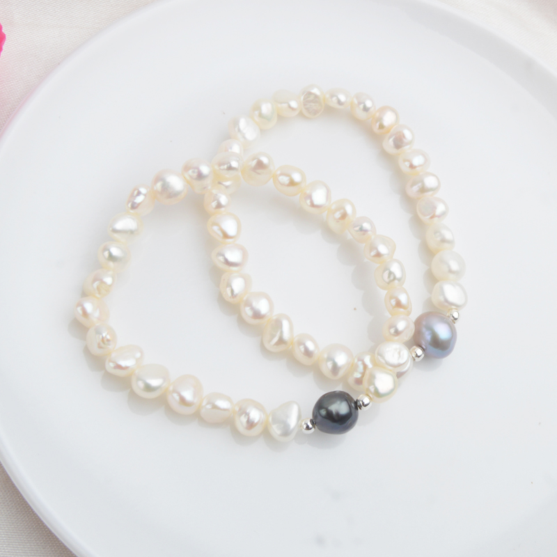 ASHIQI 7-10mm Real Natural Freshwater Baroque Pearl Bracelets & Bangles For Women 925 Silver Beads Jewelry Gift