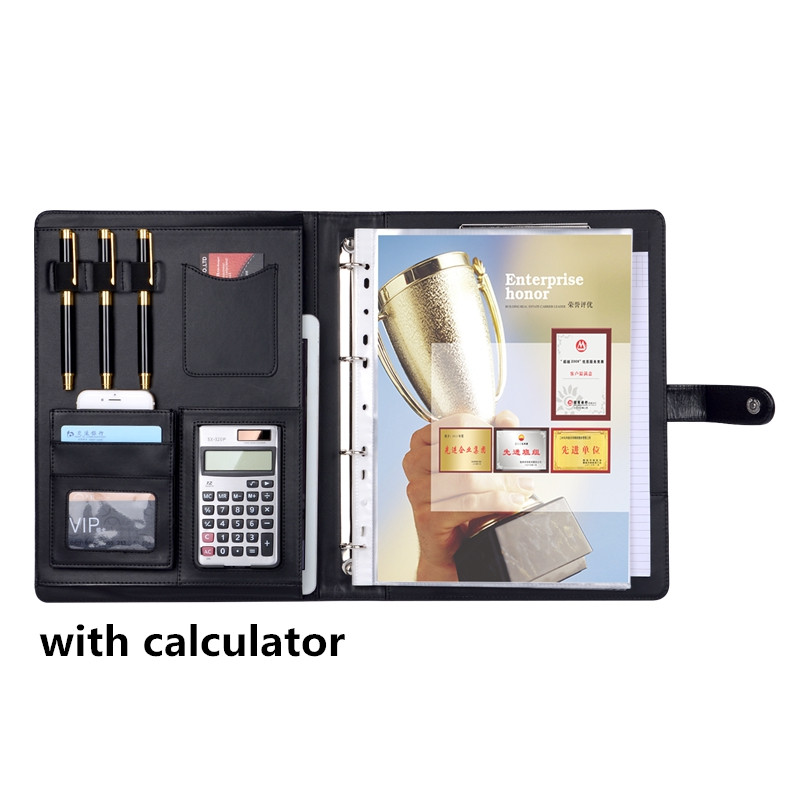 ФОТО Padfolio with Calculator PU Portfolio Leather Conference Document Holder with 10 Page Pockets New Office Stationary Products