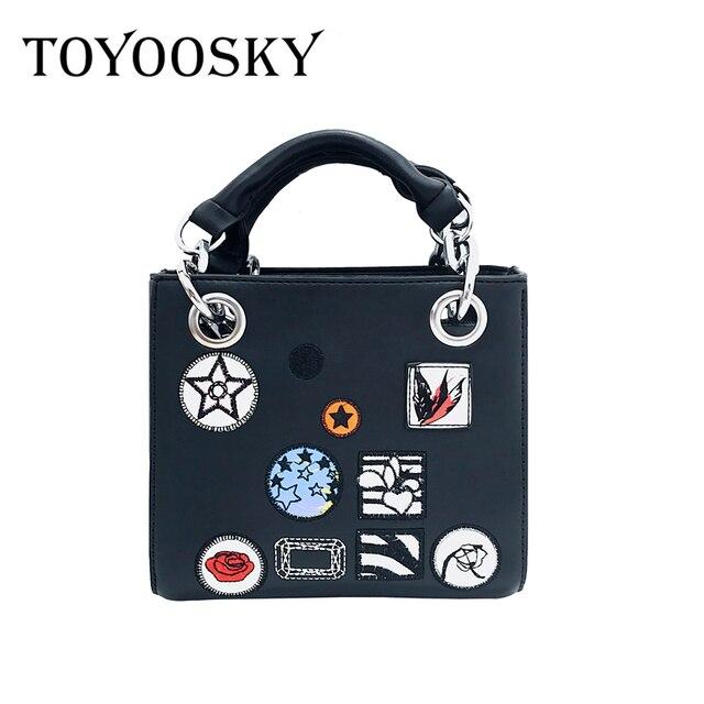 c1dd13827394 TOYOOSKY 2017 Brand Designer Cartoon Badge Box Bag Vintage Flap embroidery  Handbags CrossBody Shoulder Bags Clutch Purse