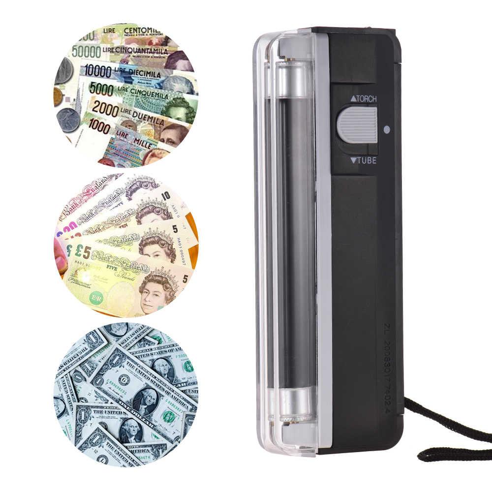جهاز فحص فاتورة الأوراق النقدية المزيفة المصغر المحمول 2-in 1money جهاز اختبار مع ضوء الأشعة فوق البنفسجية مصباح يدوي للدولار الأمريكي