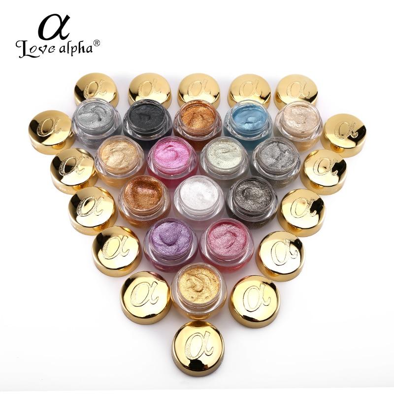 3  LOVE ALPHA 3D Glitter Eyeshaow Gel Metallic Powder Pigment Make-up 5 Choice Fragrance Cream Highlighter Shining Maquiagem Palette HTB1T d