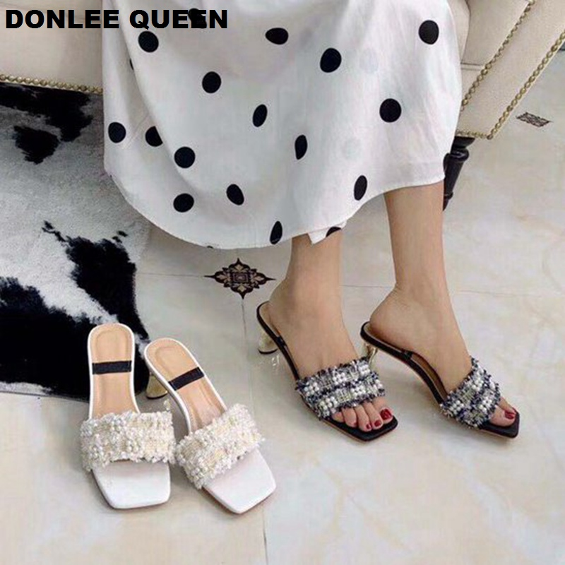 DONLEE QUEEN Brand Pearl Slippers Shoes Women Slip On Slides Metal Heel Sandals Hemp String Bead Shoes Med Heel Party Dress Shoe in Slippers from Shoes