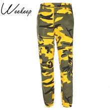 52c16f0562 Weekeep de cintura alta de moda Pantalones de camuflaje mujeres bolsillos  de lápiz Streetwear pantalones de algodón hasta el tob.