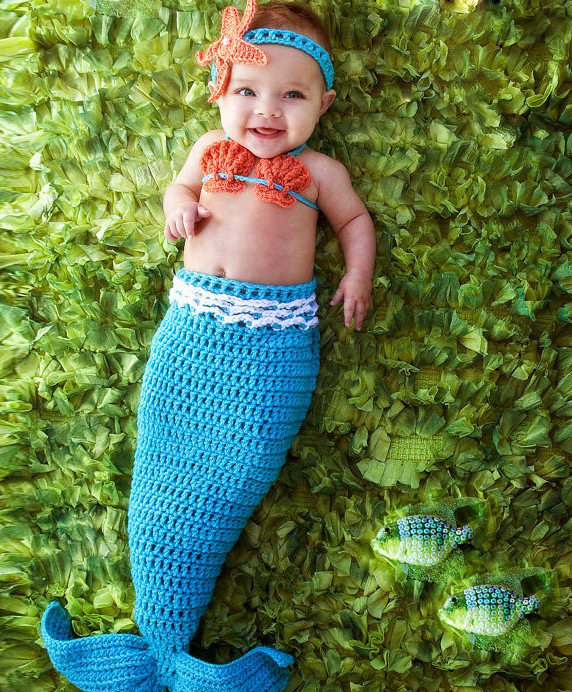 newborn photography props baby Costume Mermaid Infant baby photo props Knitting fotografia newborn crochet outfits 0-1M or 3-4M