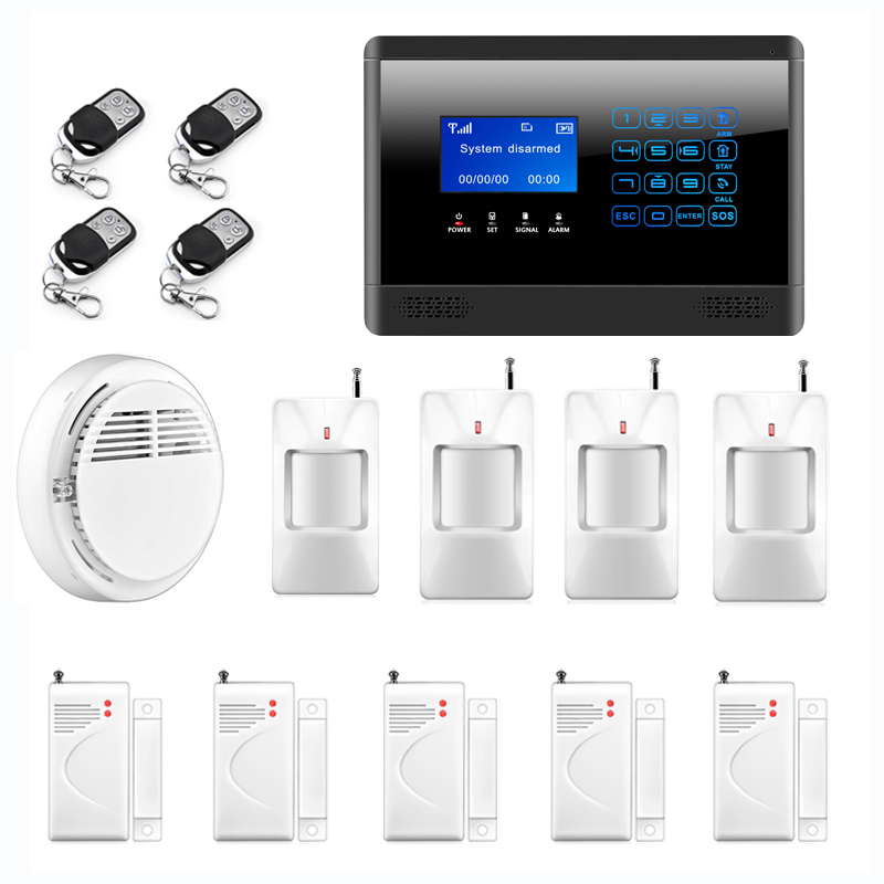 APP control Wireless GSM SMS TEXT Alarm Touch Keypad Home House Alarm System LCD Screen +Wireless Smoke Fire Sensor wireless gsm sms text touch keypad home house alarm system emergency panic 850 900 1800 1900mhz outdoor siren fire smoke sensor